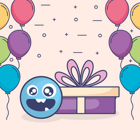 emoticon face with balloons helium and gift vector illustration design
