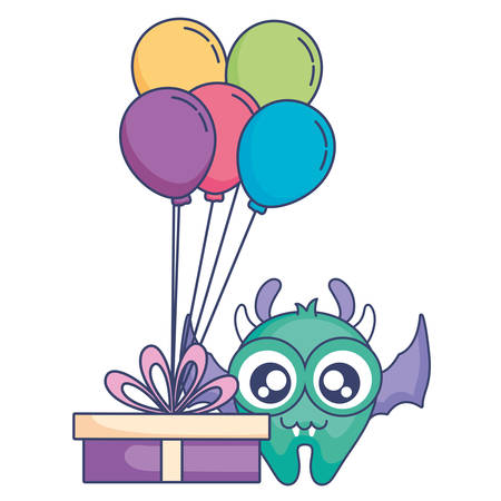 crazy monster with gift and balloons helium character vector illustration design