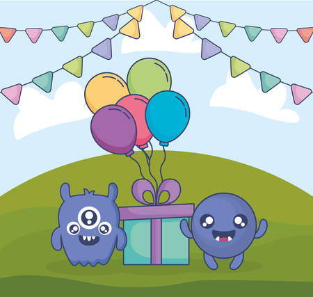 crazy monsters with gift and balloons helium in the field vector illustration design Иллюстрация