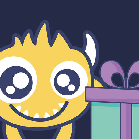 crazy monster with gift comic character vector illustration design Illustration