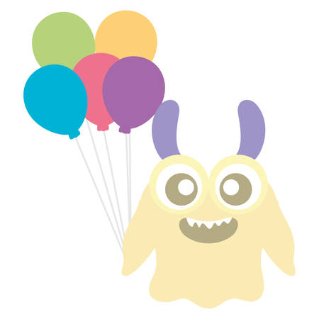 crazy monster with balloons helium character vector illustration design Illustration