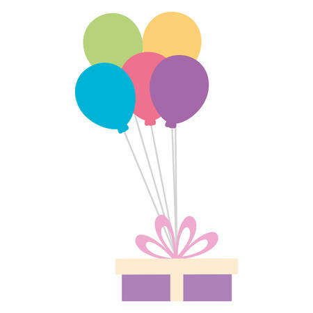 gift with balloons helium floating vector illustration design