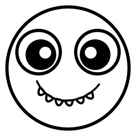 emoticon face with crazy teeth vector illustration design