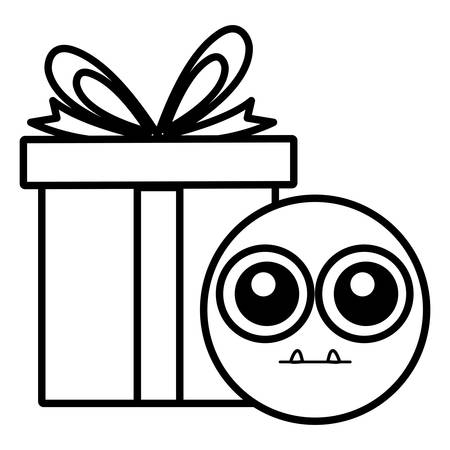 emoticon face with giftbox present vector illustration design