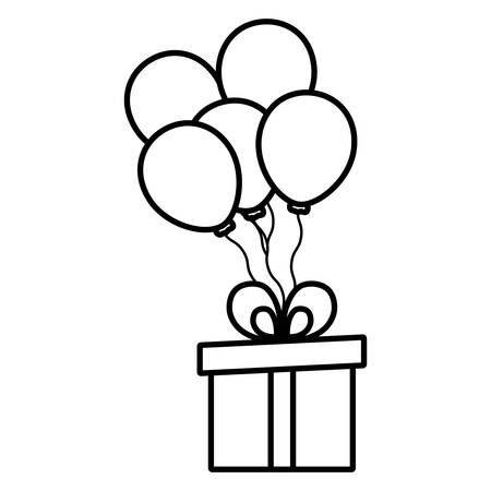 gift with balloons helium floating vector illustration design Фото со стока - 124725652