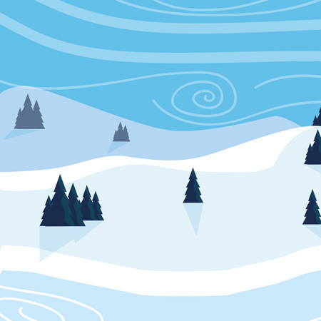 snow scape scene icon vector illustration design