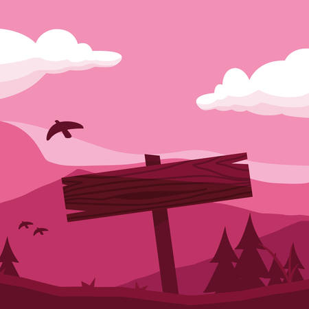 rustic wooden label in the landscape with bird vector illustration design