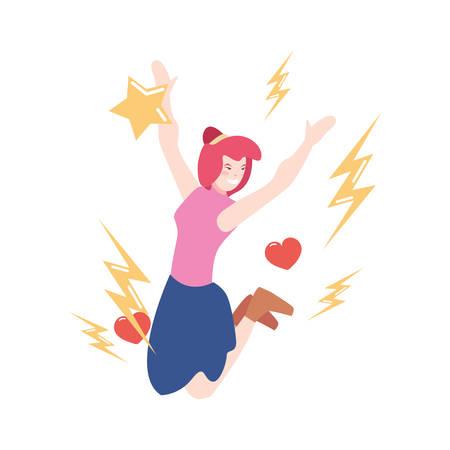 happy jumping woman - girl power vector illustration Imagens - 124725721