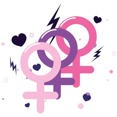 gender feminism signals girl power vector illustration Illusztráció