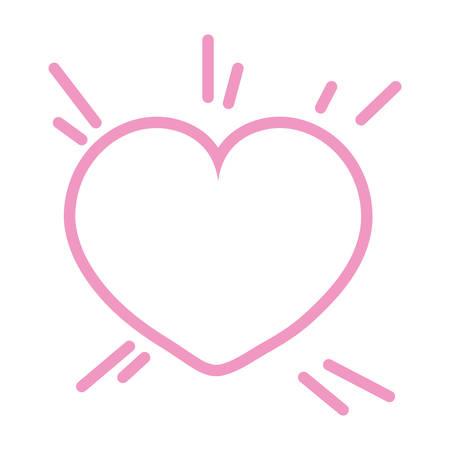 pink outline heart love romantic vector illustration