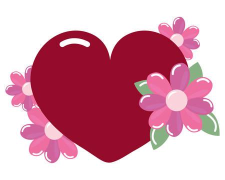heart love flowers arrangement on white background vector illustration