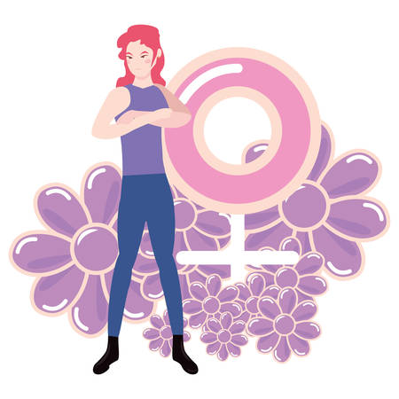 woman with female gender flowers girl power vector illustration vector illustration