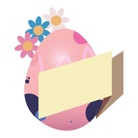 egg decorating banner flowers happy easter vector illustration Ilustração