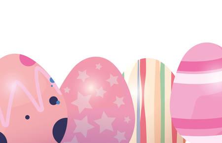 eggs memphis decoration happy easter card vector illustration