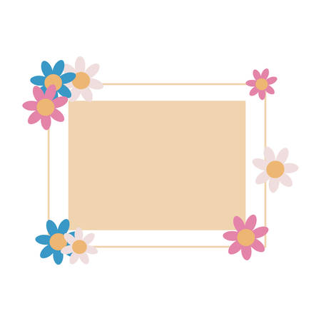 label empty frame flowers design vector illustration