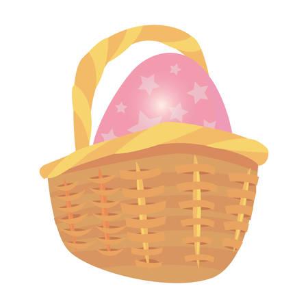 egg in basket decoration happy easter vector illustration