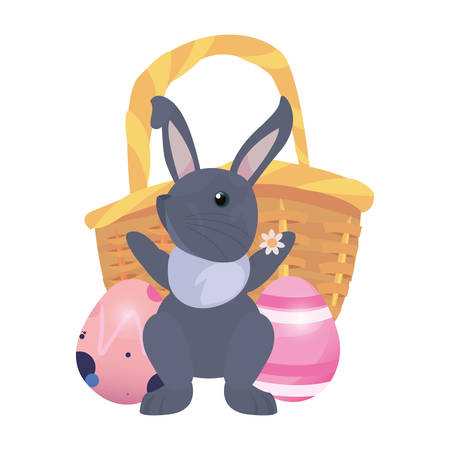 rabbit with basket and eggs happy easter vector illustration Фото со стока - 124725863