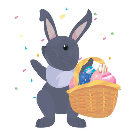 rabbit with basket and eggs happy easter vector illustration Фото со стока - 124725883