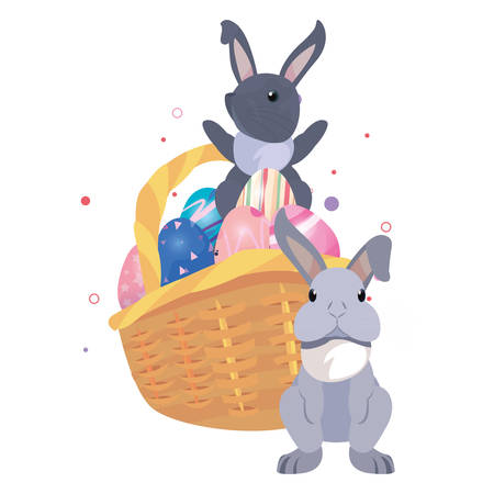 rabbit with basket and eggs happy easter vector illustration