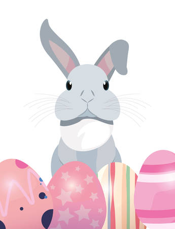 cute rabbit and decorative eggs easter vector illustration Фото со стока - 124725894