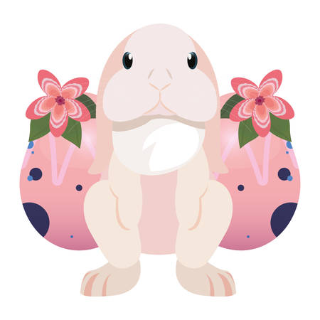 cute bunny and eggs painting flowers easter vector illustration
