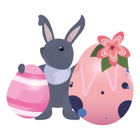 cute bunny and eggs painting flowers easter vector illustration Фото со стока - 124725903