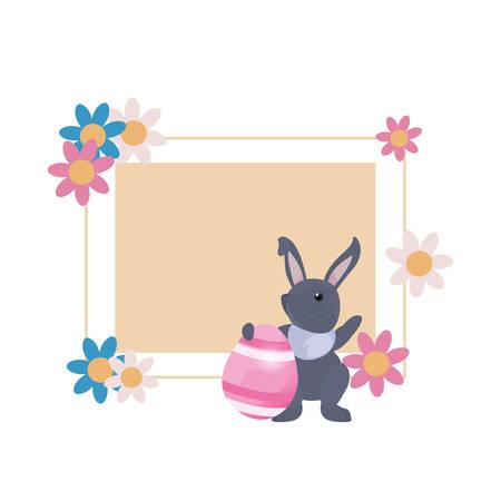 rabbit egg flowers label frame easter vector illustration  イラスト・ベクター素材