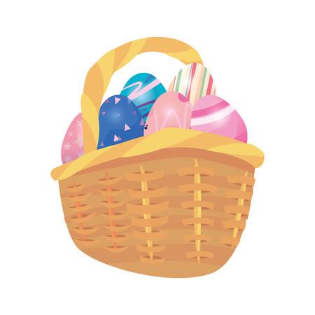 eggs basket decorating happy easter vector illustration Иллюстрация