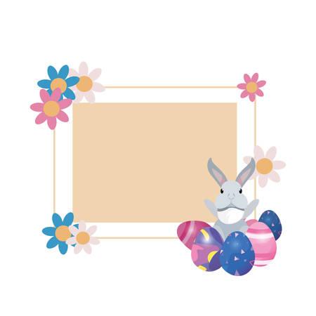 rabbit eggs flowers label frame easter vector illustration
