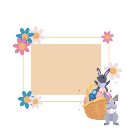 rabbits eggs flowers basket label frame easter vector illustration