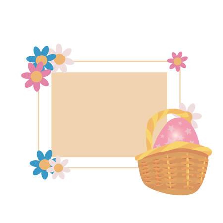 label rabbit egg flowers frame vector illustration