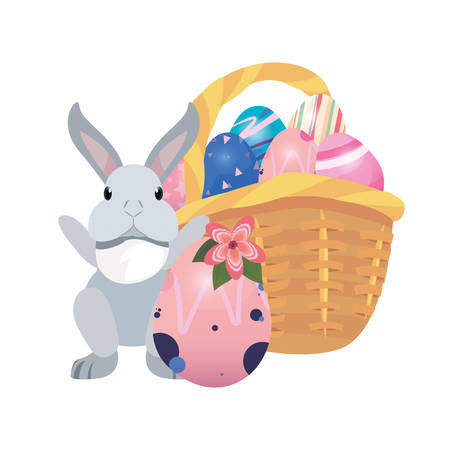 bunny basket filled eggs happy easter vector illustration Фото со стока - 124725942