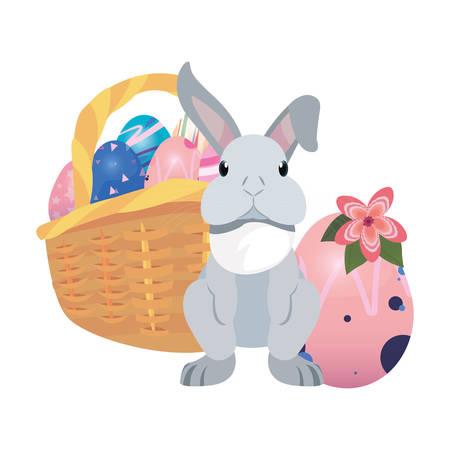 bunny basket filled eggs happy easter vector illustration Фото со стока - 124725943