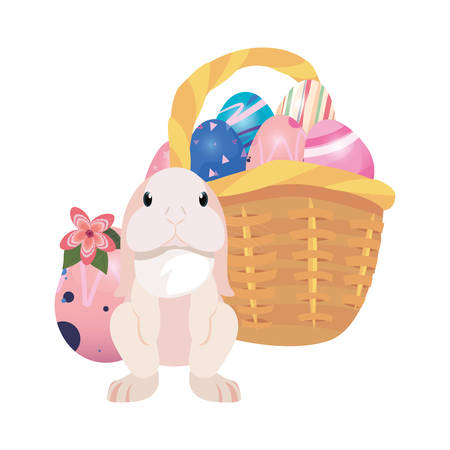 bunny basket filled eggs happy easter vector illustration Фото со стока - 124725944