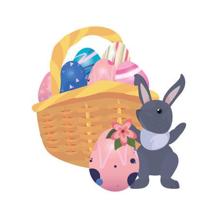 bunny basket filled eggs happy easter vector illustration
