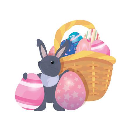 bunny basket filled eggs happy easter vector illustration Фото со стока - 124725946