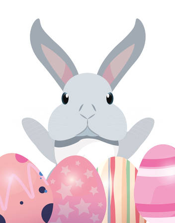 cute rabbit and decorative eggs easter vector illustration