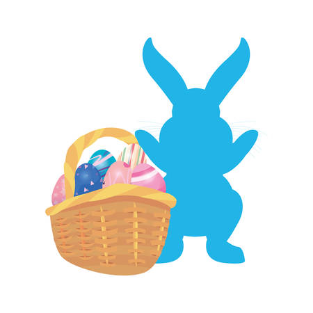 bunny basket filled eggs happy easter vector illustration Фото со стока - 124725949