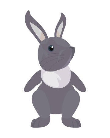 cute rabbit animal on white background  vector illustration