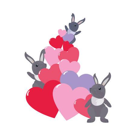 cute rabbits hearts love cartoon vector illustration