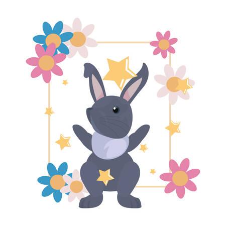 cute rabbit flowers frame cartoon on white background vector illustration