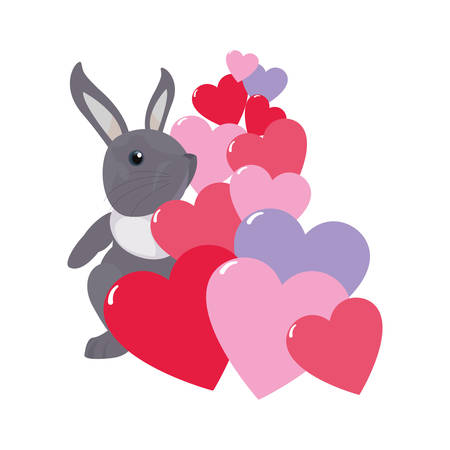 cute rabbit hearts love cartoon vector illustration