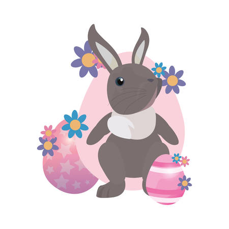 cute bunny and eggs painting flowers easter vector illustration vector illustration