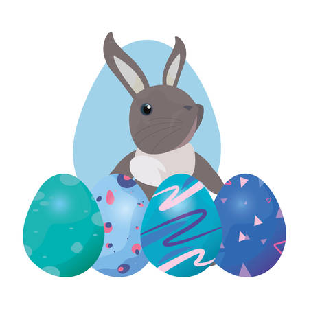cute rabbit and decorative eggs easter vector illustration vector illustration Иллюстрация