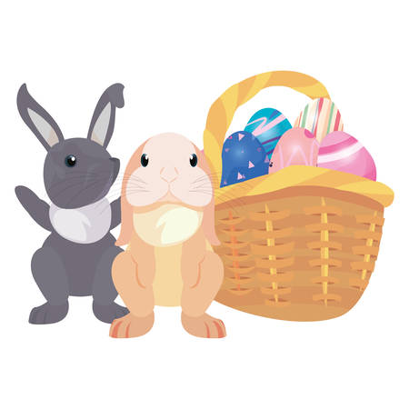 rabbits basket filled eggs happy easter vector illustration vector illustration