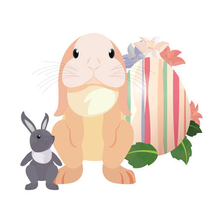 cute rabbits and decorative egg flowers easter vector illustration vector illustration