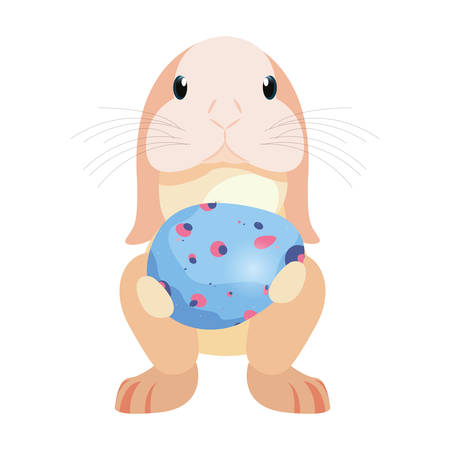 cute rabbit and decorative egg easter vector illustration vector illustration Иллюстрация