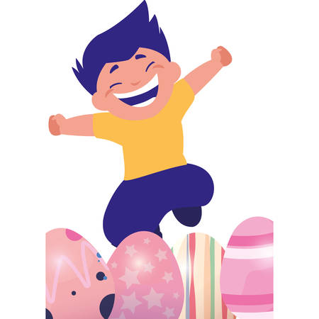 happy young boy with easter eggs decoration vector illustration