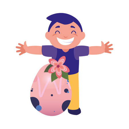 happy young boy with easter egg flowers decoration vector illustration Banco de Imagens - 124726002