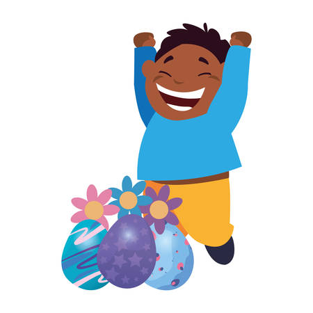 happy young boy with easter eggs flowers decoration vector illustration